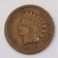 1909-S Indian Head Small Cent VF Details Damage