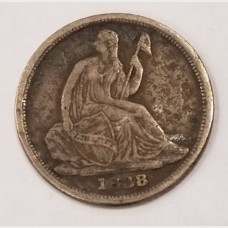 1838-O Seated Liberty Silver Half Dime F RAW