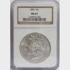 1885 Morgan Silver Dollar NGC MS63