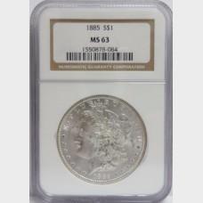 1885 Morgan Silver Dollar NGC MS63