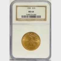 1901 $10 Gold Liberty NGC MS64