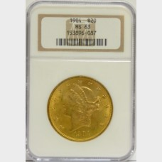 1904 $20 Gold Liberty Head NGC MS63