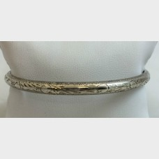 Diamond Cut Silver Bangle with Chain