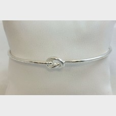 Thin Knotted Silver Bangle