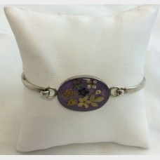Pressed Flower Silver Bangle