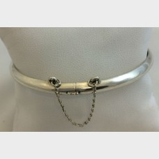Silver Bangle with Chain Clasp