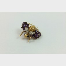 Yellow Gold Bee Pin