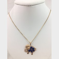 14K Gold Lapis Elephant Pendant & Necklace