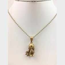 Girl & Teddy Bear Pendant with Yellow & White Gold Chain