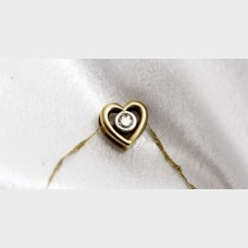 14KT Yellow Gold Necklace with 10K Heart Diamond Pendant