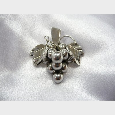 Mexican Sterling Silver Grape Pin Pendant