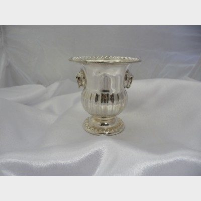 Miniature Champagne Bucket Vintage Pair Sterling Silver Lion Head Design Footed Urn Hallmarked National