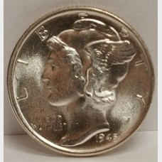 1945-S Mercury Head Dime Gem BU Full Split Bands