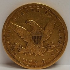 1850 Liberty $10 Gold Coin Large Date VF RAW