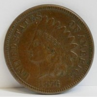 1876 Indian Head Small Cent XF/AU RAW