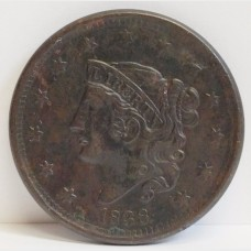 1838 Coronet Head Liberty Large Cent XF RAW