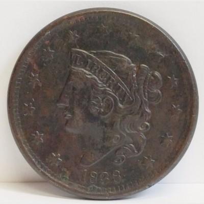 1838 Coronet Head Liberty Large Cent XF RAW