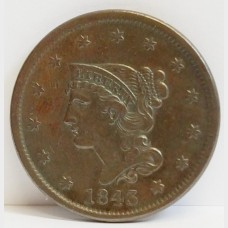 1843 Braided Hair Liberty Head Large Cent XF Details RAW