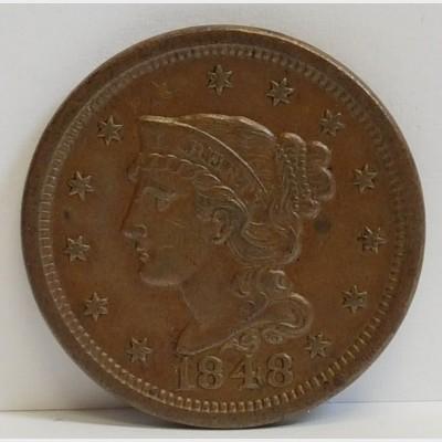 1848 Braided Hair Liberty Head Large Cent AU RAW