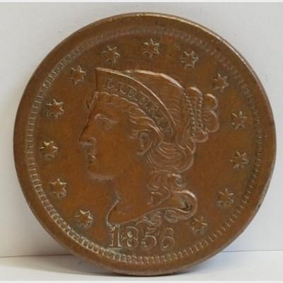 1856 Braided Hair Liberty Head Large Cent AU RAW