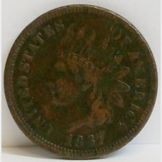 1867 Indian Head Small Cent Penny F RAW