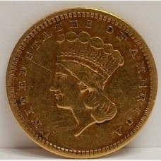 1857 Type III Liberty Head $1 Gold Coin Cleaned VF Details RAW