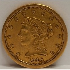 1843-O $2.50 Gold Liberty XF RAW