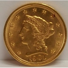 1901 $2.50 Liberty Gold Coin MS65 RAW