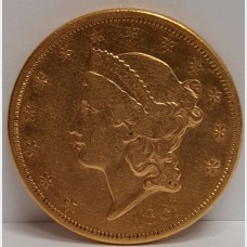 1861 Type I Liberty Head $20 Gold Coin XF RAW