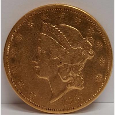 1861 Type I Liberty Head $20 Gold Coin XF RAW