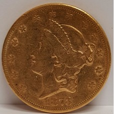 1873 Type II Open 3 Liberty Head $20 Gold Coin XF Condition