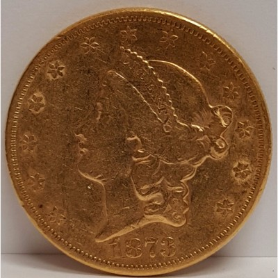 1873 Liberty Head $20 Gold Coin Open 3 XF RAW