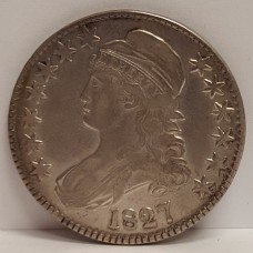 1827 Capped Bust Half Dollar Square Base 2 Lettered Edge  XF RAW