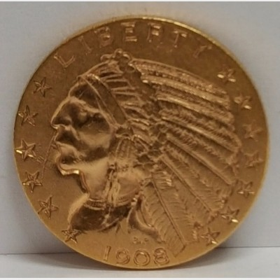 1908 $5 Indian Gold Coin XF RAW