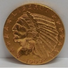 1909-D $5 Indian Gold Coin VF RAW