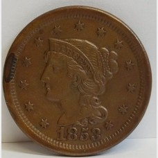 1853 Large Cent Braided Hair Liberty Head RAW AU