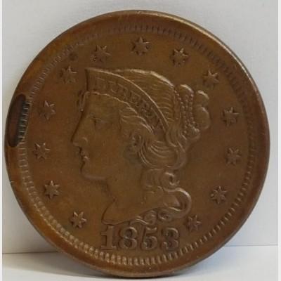 1853 Large Cent Braided Hair Liberty Head RAW AU