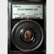 1991-S Roosevelt Dime 10¢ PCGS PR69 D-CAM