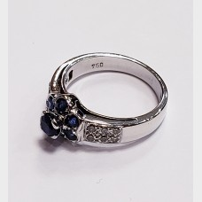 18 K White Gold Diamond and Blue Sapphire Ring