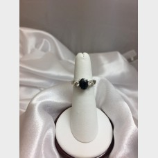 14 K White Gold Diamond and Blue Sapphire Ring