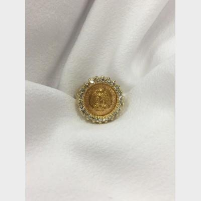 14 K Yellow Gold Diamond Bezel Ring w Mexico 2 Peso