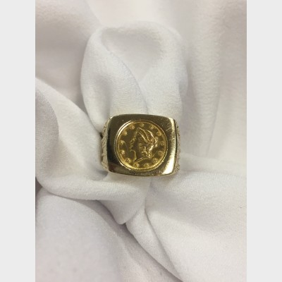 14 K Yellow Gold Ring w $1 Gold Piece