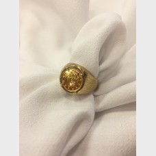 14 K Yellow Gold Ring w 1851 $1 Gold Piece