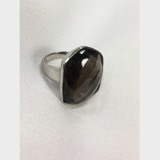 Sterling Silver Cushion Shaped Smokey Quartz Rings