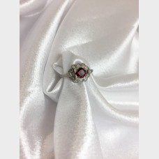 Platinum Pyrope Garnet Ring with Diamonds